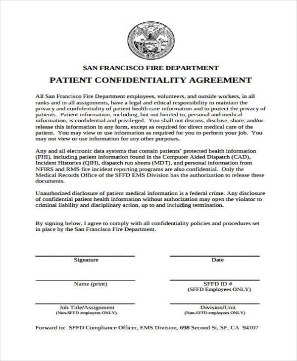 8 Confidentiality Agreement Form Samples Free Sample