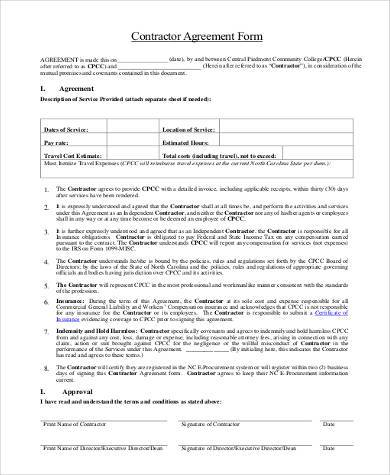free printable contractor agreement form