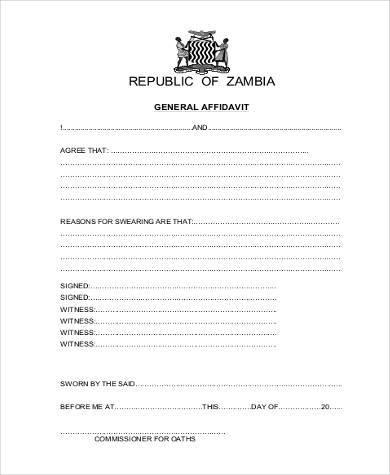 free printable general affidavit form pdf