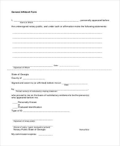 Free Printable General Affidavit Form  Free Printable Affidavit Form