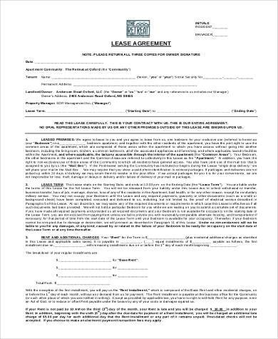 free printable lease agreement forms