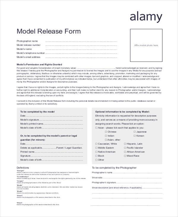 free printable model release form