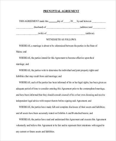 free printable prenuptial agreement form