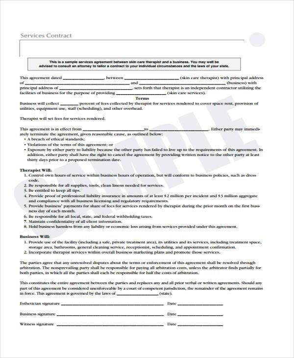 Free Printable Service Contract Form  Liability Contract Template