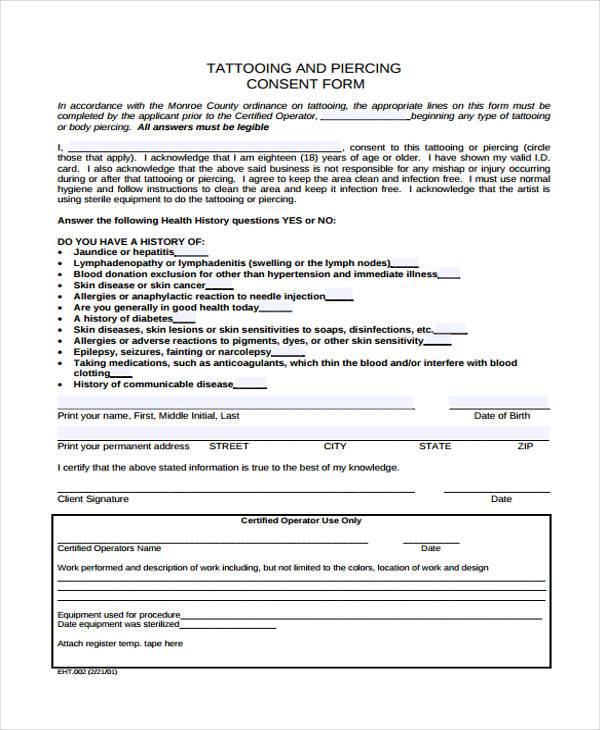 tattoo release form template free consent form samples