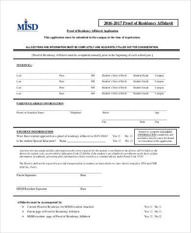 free proof of residency affidavit form