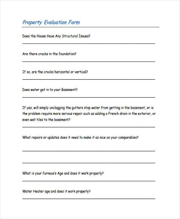 free property evaluation form