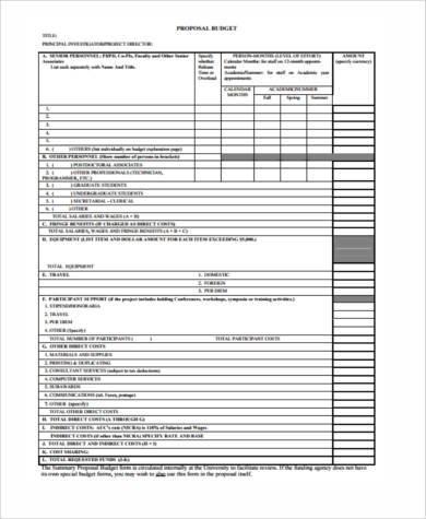 free proposal budget form