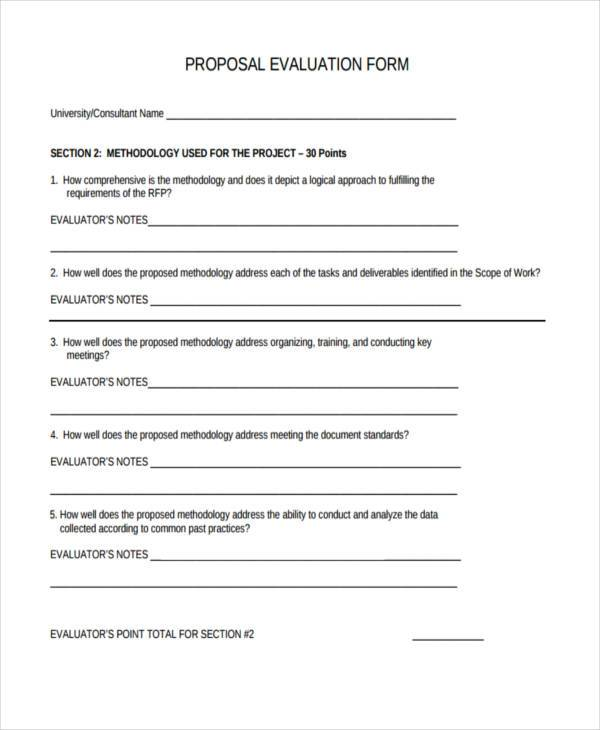 free proposal evaluation form