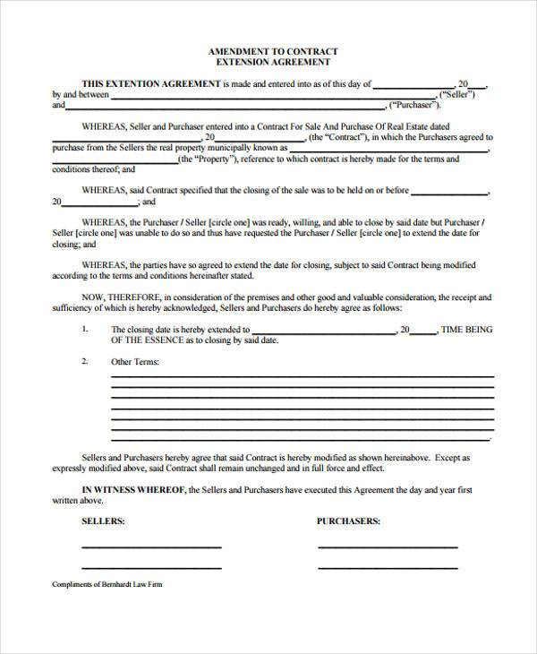 free real estate contract extension form