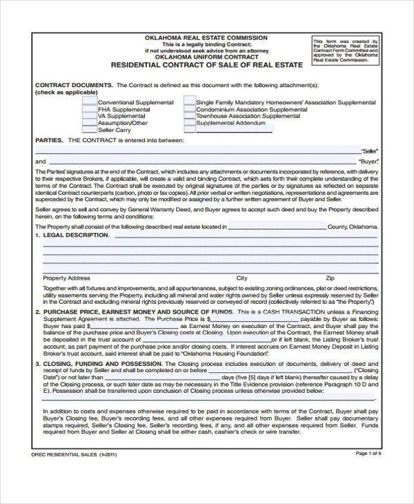free real estate contract of sale form