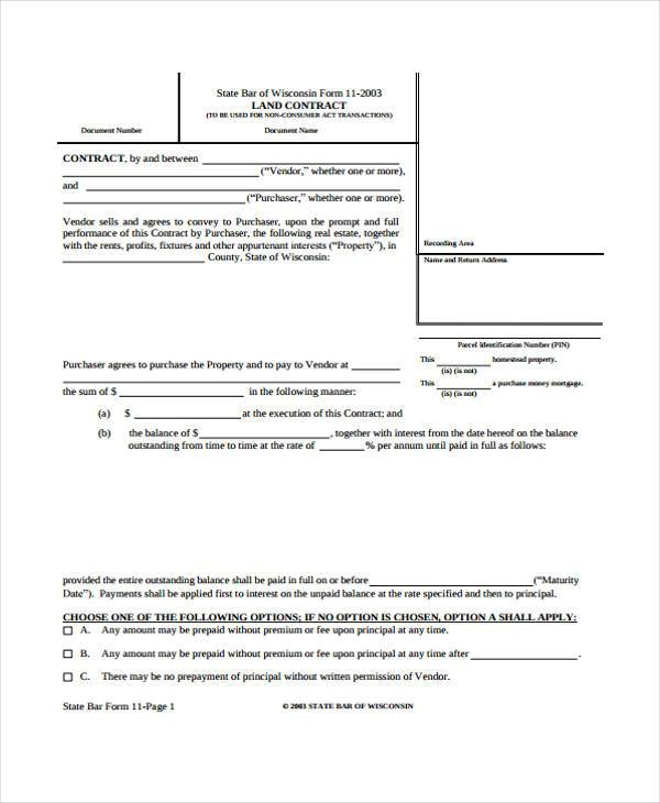 free real estate land contract form0a0a