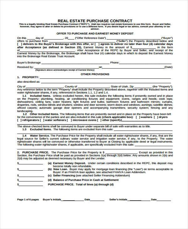 free real estate purchase contract form1
