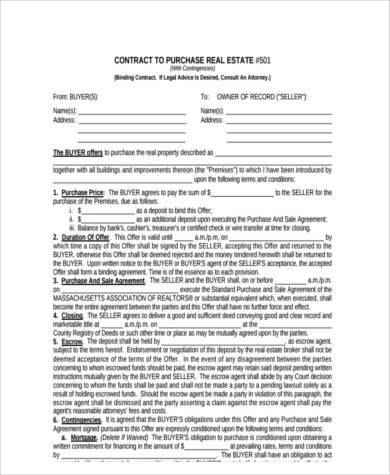 Real Estate Purchase Form Samples - 8+ Free Documents in Word, PDF