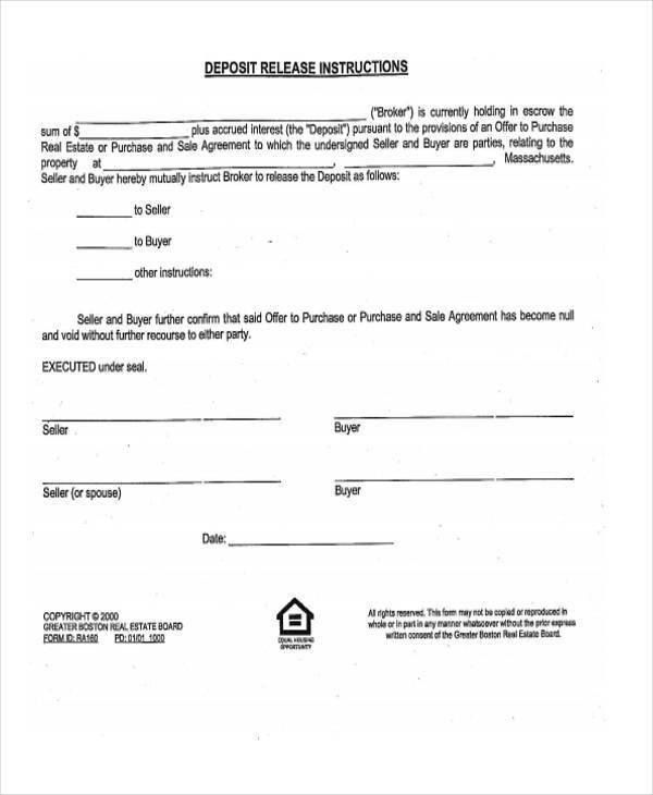 Wonderful Free Real Estate Release Form Example