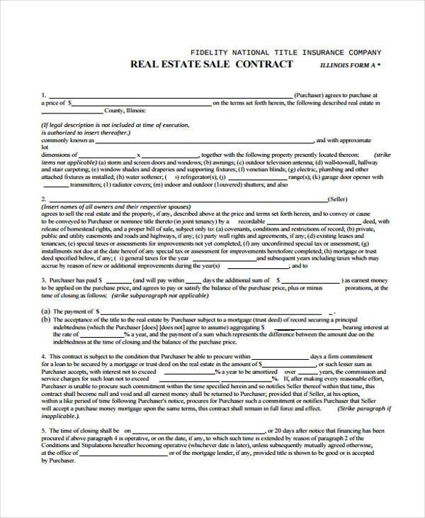 free real estate sales contract form0a
