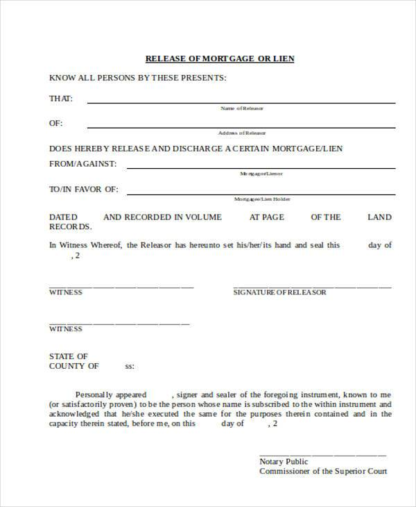 free release of mortgage lien form