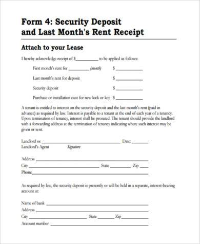 Sample Rental Deposit Forms   Free Documents In Pdf
