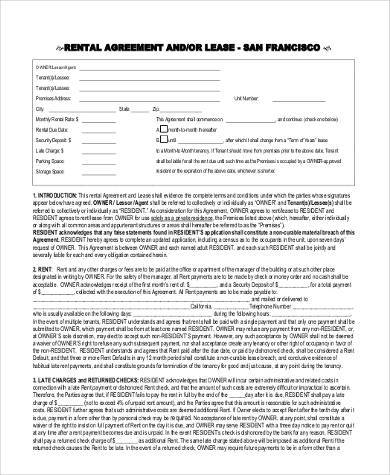 free rental lease agreement form