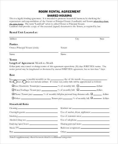 free rental room agreement form