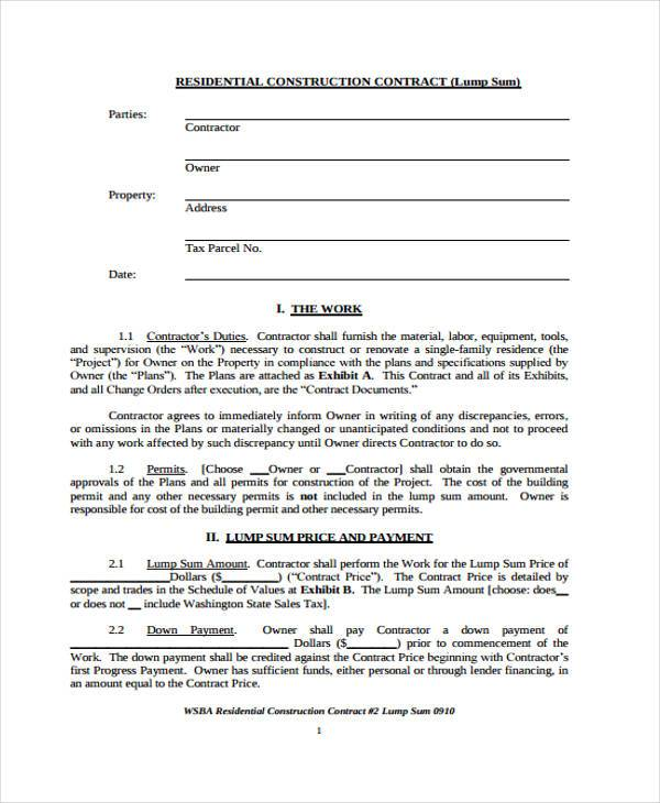 free residential construction contract form1