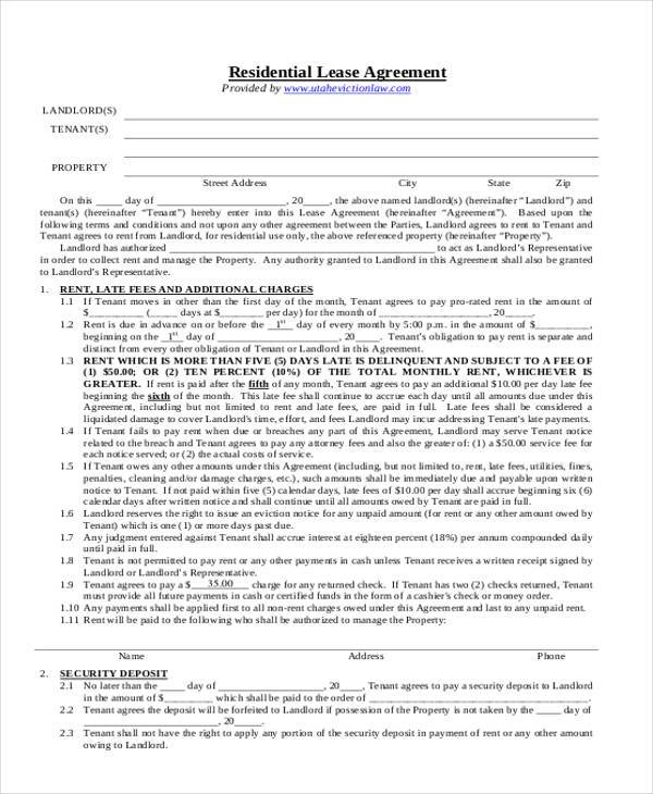 8 Residential Lease Agreement Form Samples Free Sample Example – Free Residential Lease