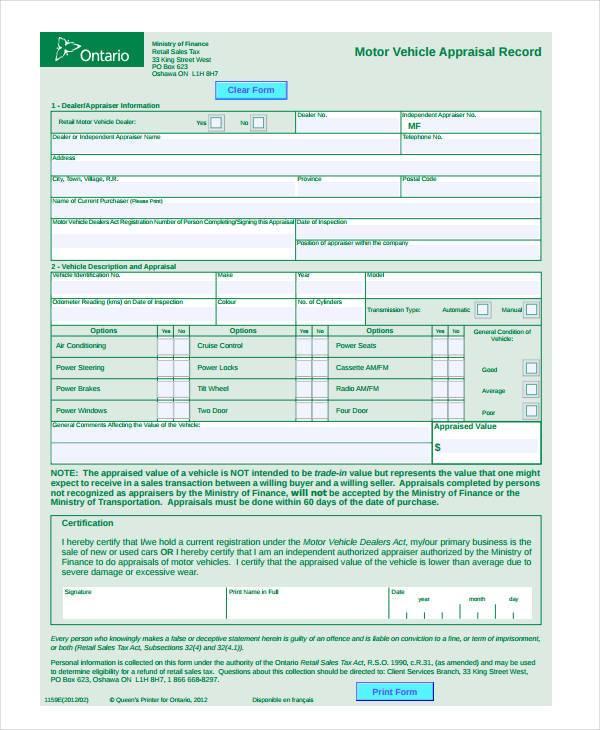 free retail appraisal form sample