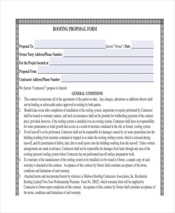 free roofing proposal form
