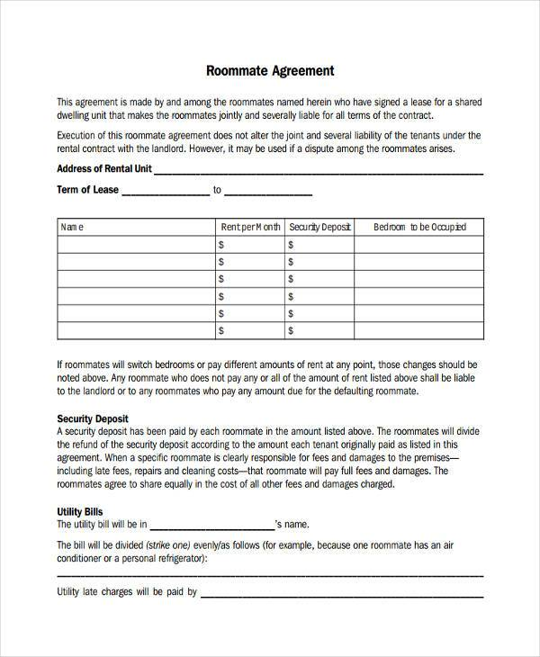 Printable Sample Roommate Agreement Form  Free Roommate