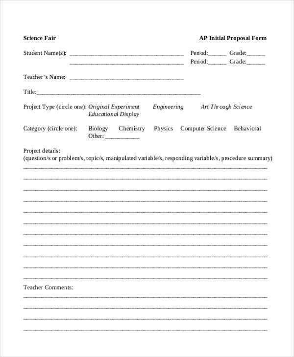 free science fair proposal form