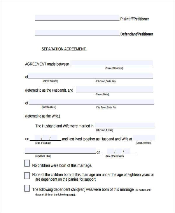 7 separation agreement form samples free sample for Seperation agreement template