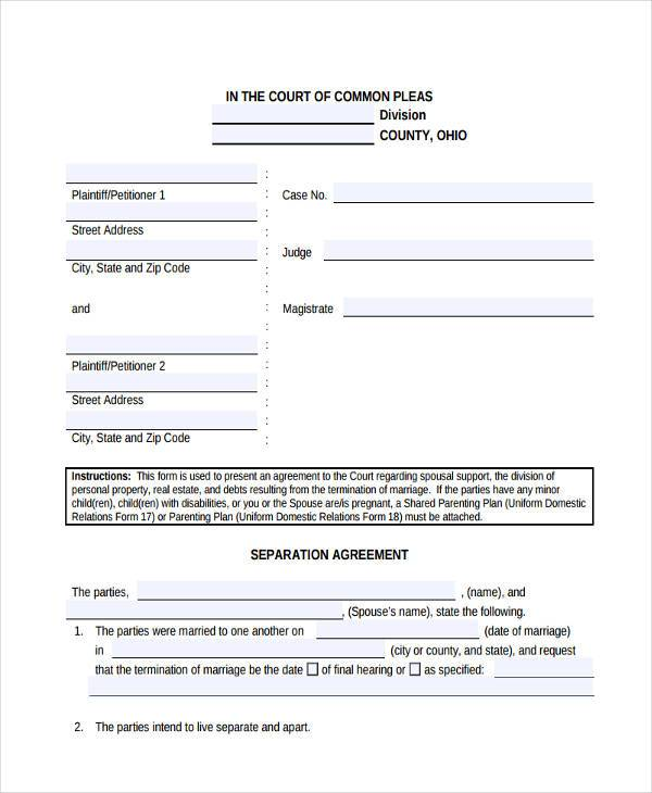 free separation agreement form example
