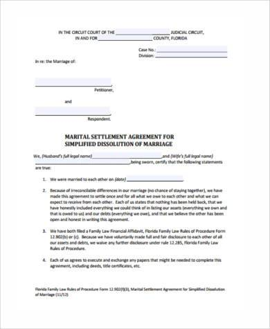 free separation agreement form