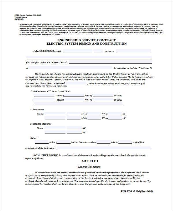 Free Service Contract Agreement Form Example  Free Service Contract