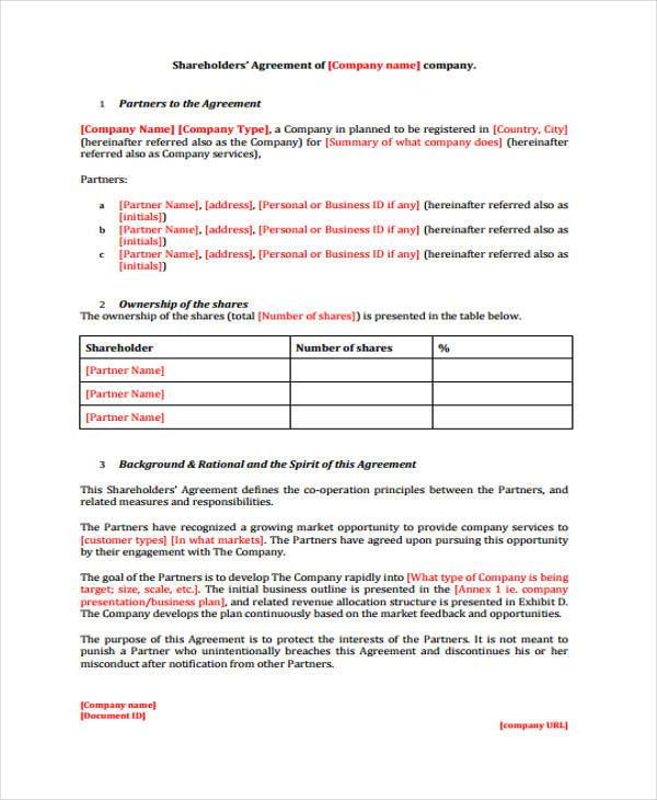 Shareholder Agreement Form Samples  Free Sample Example Format