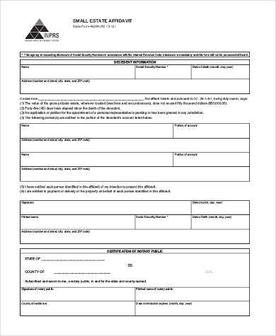 free small estate affidavit form2