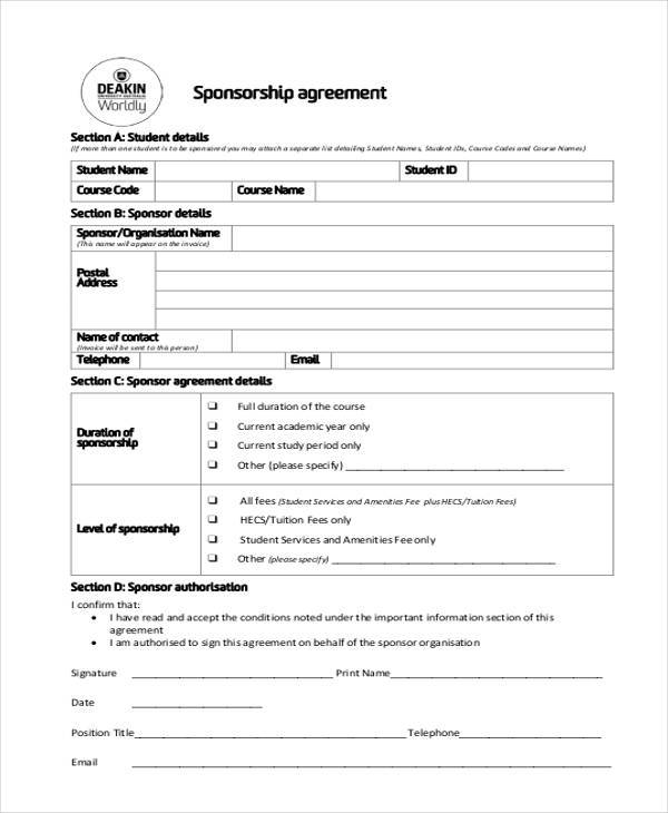 7 Sponsorship Agreement Form Samples Free Sample Example – Sponsorship Agreement Template