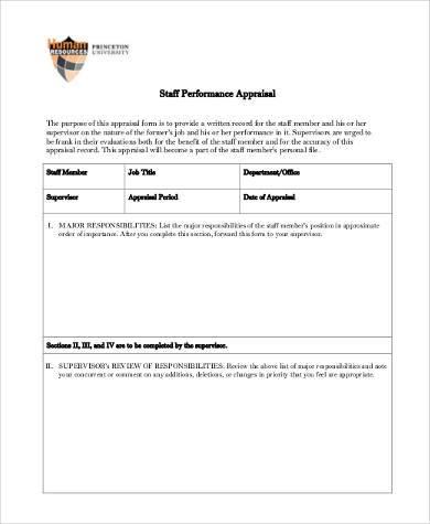 free staff performance appraisal form