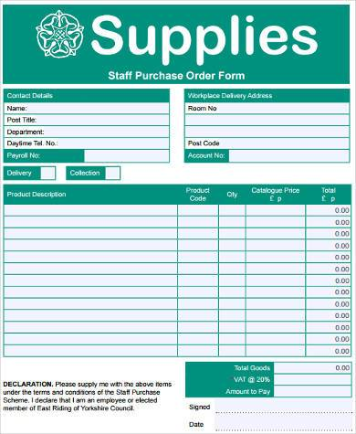 free staff purchase order form