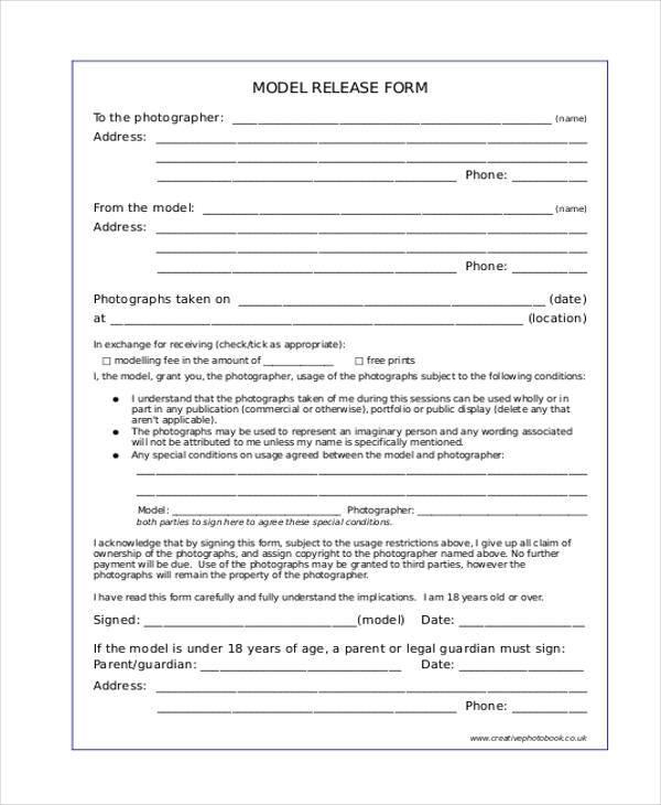 free standard model release form