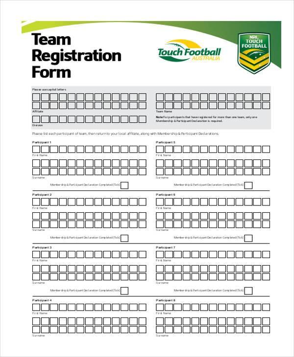 free team registration form e