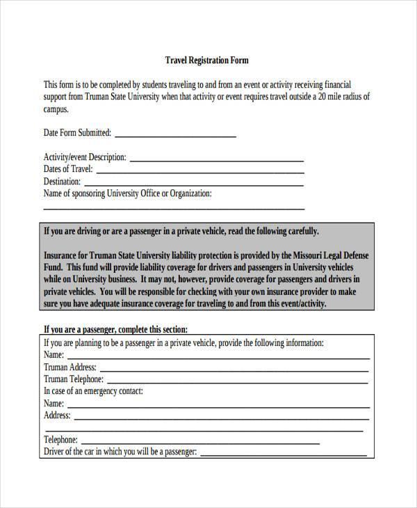 free travel registration form