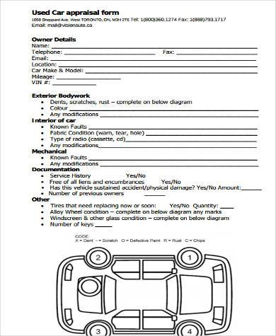 Vehicle appraisal form ibovnathandedecker free appraisal form samples 9 free documents in word pdf vehicle appraisal form maxwellsz