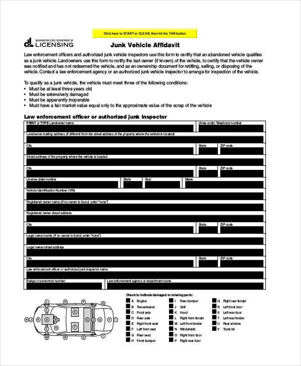 free vehicle affidavit form