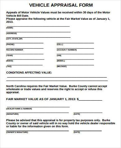 free vehicle appraisal form