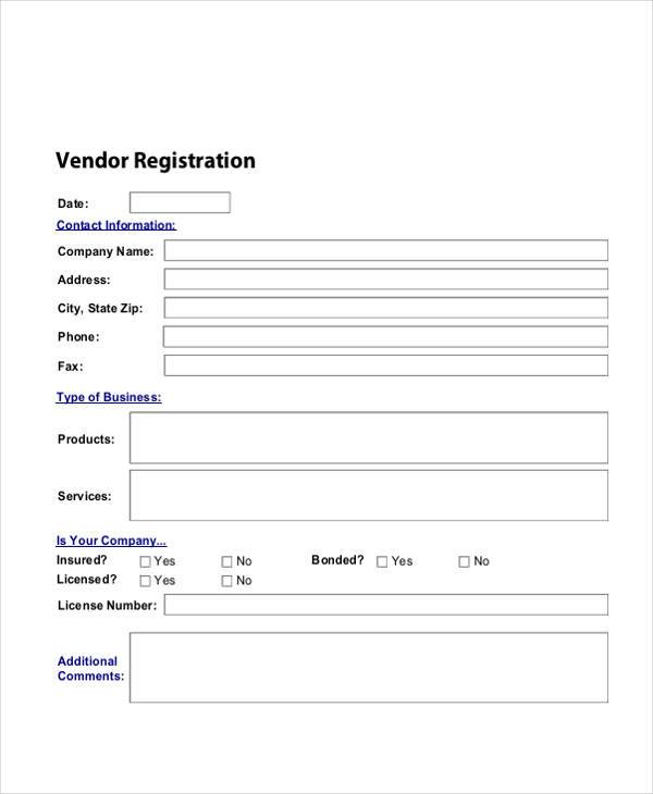 Registration Form Templates – Vendor Registration Form