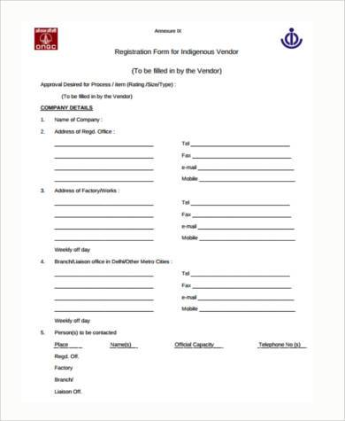 free vendor registration form