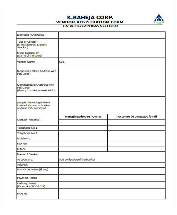 free vendor registration form3