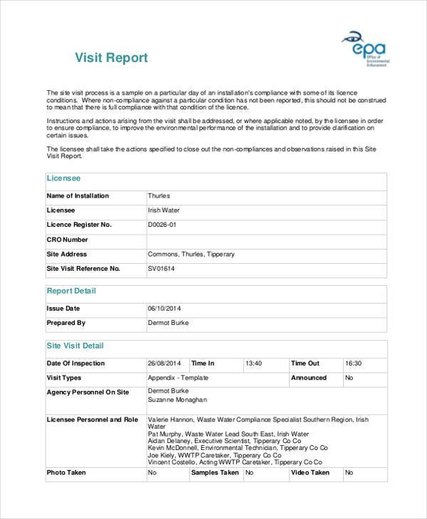 free visit report form