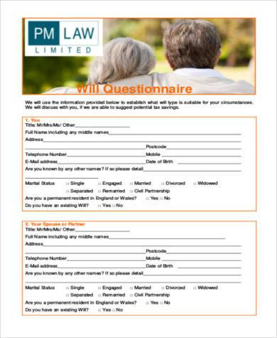 free will questionnaire form
